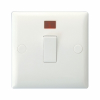 Varilight 1 Gang 20 Amp Double Pole Switch with Neon Classic Polar White Moulded Bevel