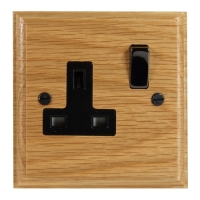 Wood 1 Gang 13Amp Switched Socket in Solid Oak