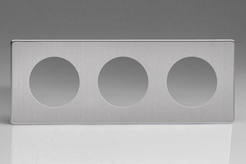 Varilight European VariGrid Triple faceplate with a 3 hole cut-out in Brushed Steel Finish