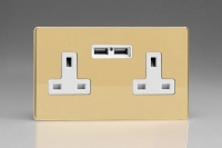 Varilight 2 Gang 13 Amp Single Pole Unswitched Socket with 2 Optimised USB Charging Ports Screwless Polished Brass