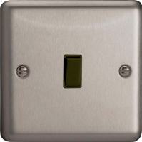 Varilight 1 Gang 10 Amp Push-to-make, Bell Push, Retractive Black Switch Classic Brushed Steel
