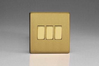 Varilight 3 Gang 10 Amp Switch Screwless Brushed Brass Effect Finish