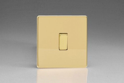 Varilight 1 Gang Intermediate (3 Way) 10 Amp Switch Screwless Polished Brass Coated