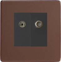 Varilight 2 Gang Comprising of Black Co-axial TV and Satellite TV Socket Screwless Mocha