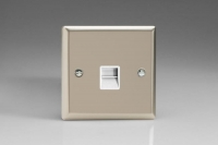 Varilight 1 Gang White Telephone Slave Socket Classic Satin Chrome