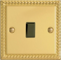 Varilight 1 Gang 10 Amp Push-to-make, Bell Push, Retractive Black Switch Classic Georgian Brass
