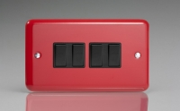 Varilight 4 Gang 10 Amp Switch Classic Lily Pillar Box Red