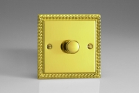 Varilight V-Dim Safety Series 1 Gang 200-1000 Watt Dimmer Georgian Brass