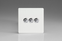 Varilight 3 Gang 10 Amp Toggle Switch Screwless Premium White