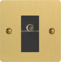 Varilight 1 Gang Black Isolated Co-axial TV Socket Ultra Flat Brushed Brass