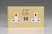 Varilight 2 Gang 13 Amp Single Pole Switched Socket with 2 x 5V DC 2.1 Amp USB Charging Ports Screwless Polished Brass