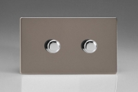 Varilight V-Pro High Power Series 2 Gang 10-300W Trailing Edge LED Dimmer Screwless Pewter