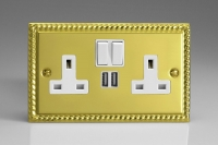 Varilight 2 Gang 13 Amp Single Pole Switched Socket with 2 x 5V DC 2.1 Amp USB Charging Ports Classic Georgian Brass