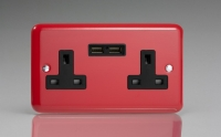 Varilight 2 Gang 13 Amp Single Pole Unswitched Socket with 2 Optimised USB Charging Ports Classic Lily Pillar Box Red