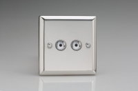 Varilight V-Plus IR Series 2 Gang 40-400 Watt Touch and Remote Dimmer Polished Chrome