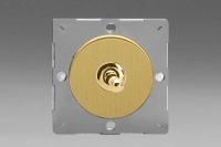 Varilight European Brushed Brass VariGrid 1 Gang 1 or 2 Way 10A Toggle Switch