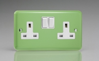 Varilight 2 Gang 13 Amp Double Pole Switched Socket Classic Lily Beryl Green