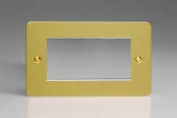 Varilight 4 Gang Data Grid Face Plate For 3 or 4 Data Module Widths Ultra Flat Brushed Brass