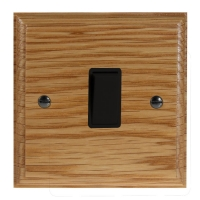 Wood 1 Gang 2Way 10Amp Rocker Switch in Solid Oak