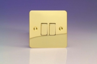 Varilight 2 Gang Comprising of 2 Intermediate (3 Way) 10 Amp Switch Ultra Flat Polished Brass