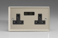Varilight 2 Gang 13 Amp Single Pole Unswitched Socket with 2 Optimised USB Charging Ports Classic Satin Chrome