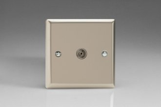 Varilight 1 Gang Co-axial TV Socket Classic Satin Chrome Effect Finish