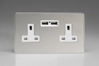 Varilight 2 Gang 13 Amp Single Pole Unswitched Socket with 2 Optimised USB Charging Ports Screwless Polished Chrome