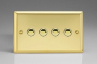 Varilight 4 Gang 6 Amp Momentary Push To Make Switch Classic Victorian Brass