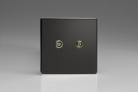 Varilight Euro Fixed Range 2 Gang RTV Termination Socket for Analogue and Digital RTV Installations European Screwless Premium Black
