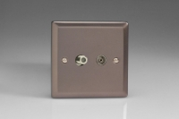 Varilight 2 Gang Co-axial TV and Satellite TV Socket Classic Pewter