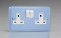Varilight 2 Gang 13 Amp Double Pole Switched Socket Classic Lily Duck Egg Blue