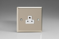Varilight 1 Gang 2 Amp White Round Pin Socket 0-460 Watts Classic Satin Chrome