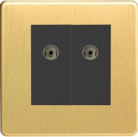 Varilight 2 Gang Black Co-axial TV Socket Screwless Brushed Brass