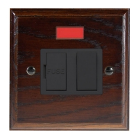 Wood 1 Gang 13Amp Switch Fuse Spur with Neon in Solid Dark Oak