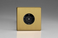 Varilight Euro Fixed Range 1 Gang 16 Amp Schuko Earth Flush Design Socket European Screwless Brushed Brass