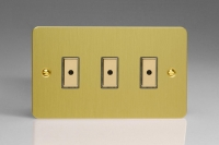 Varilight V-Pro Multi Point Remote (MPR or Eclique2) Series 3 Gang 0-100 Watts Multi Point Remote Master LED Dimmer Ultra Flat Brushed Brass