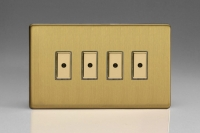 Varilight V-Pro Multi Point Remote (MPR or Eclique2) Series 4 Gang 0-100 Watts Multi Point Remote Master LED Dimmer Screwless Brushed Brass
