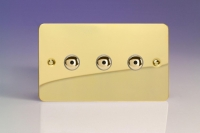 Varilight V-Pro IR Series 3 Gang 0-100 Watts Master Trailing Edge LED Dimmer Ultra Flat Polished Brass