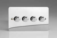 Varilight V-Pro Series 4 Gang 0-120W Trailing Edge LED Dimmer Ultra Flat Polished Chrome