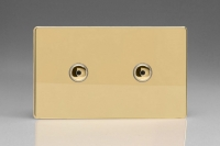 Varilight V-Plus IR Series 2 Gang 40-600 Watt Touch and Remote Dimmer Screwless Polished Brass