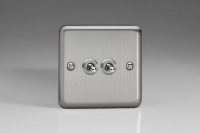 Varilight 2 Gang 10 Amp Toggle Switch Classic Brushed Steel