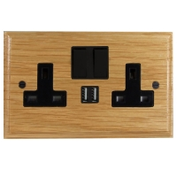 Switched USB Charging Double Socket In Light Oak With Black Trim