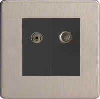 Varilight 2 Gang Comprising of Black Co-axial TV and Satellite TV Socket Screwless Brushed Steel