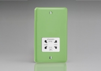 Varilight White Dual Voltage 240V/115V IP41 Shaver Socket Classic Lily Beryl Green