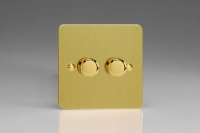 Varilight V-Plus Series 2 Gang 40-300 Watt/VA Dimmer Ultra Flat Brushed Brass