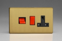 Varilight 45 Amp Double Pole Horizontal Cooker Panel with 13 Amp Switched Socket Screwless Brushed Brass