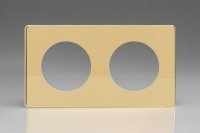 Varilight European VariGrid Double faceplate with a 2 hole cut-out in Polished Brass