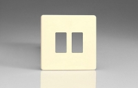 Varilight 2 Gang Power Grid Screwless Faceplate Including Screwless Power Grid Frames Screwless White Chocolate