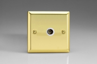 Varilight 1 Gang White Isolated Co-axial TV Socket Classic Victorian Brass