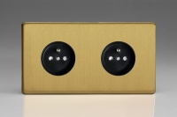 Varilight Euro Fixed Range 2 Gang 16 Amp Euro (Pin Earth) Flush Design Socket European Screwless Brushed Brass